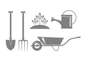 Gray garden icons on white background