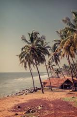 Fisherman hut in the village near the ocean.