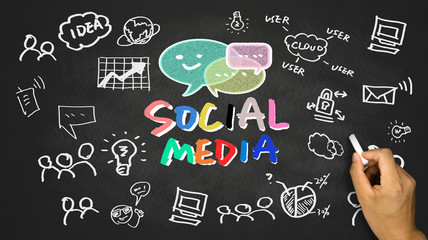 social media concept on blackboard