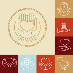 Vector charity line logos and signs