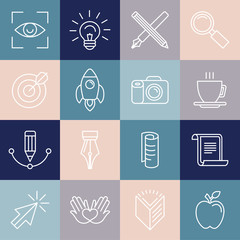 Vector graphic designer icons and badges in linear style