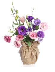 beautiful bouquet of  eustome flowers in flowerpot