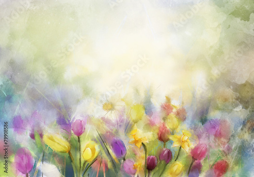 Watercolor flowers painting,daffodils and tulip