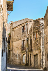 Old ruined houses in a small italian village