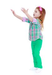 cheerful girl standing sideways outstretched hands