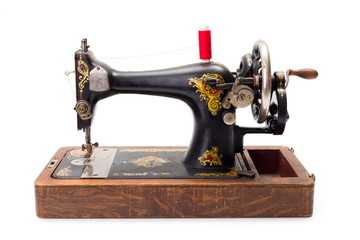 Old hand driven sewing machine