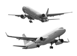 Commercial plane isolated on white background with clipping path
