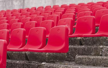 Red seats on stadium