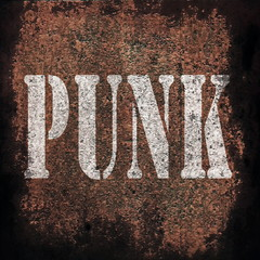 punk music on old rusty metal plate background