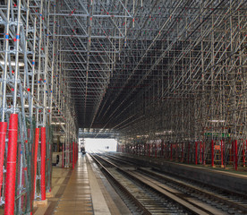 The railway station with with scaffolding everywhere