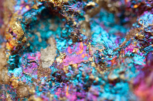 Fotobehang Edelsteen Bornite, also known as peacock ore, is a sulfide mineral
