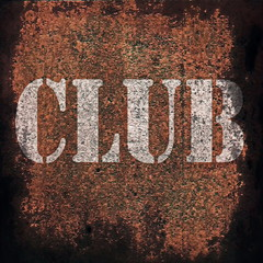 club music on old rusty metal plate background
