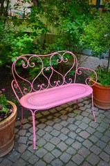 Pink bench.  Berlin, Germany.