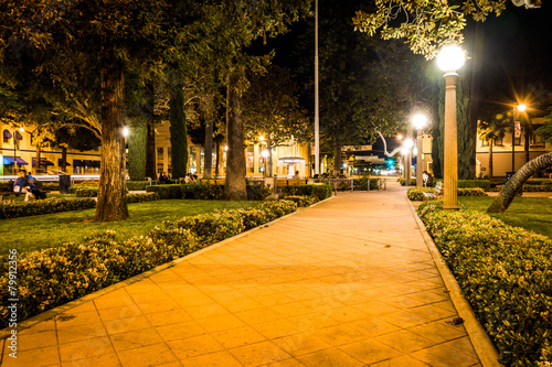 Walkway in Orange Circle at night, in Orange, California.