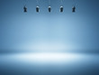 Leinwanddruck Bild - blue spotlight background with studio lamps
