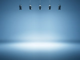 blue spotlight background with studio lamps