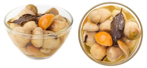 Pickled cepe mushrooms in glass bowl