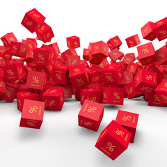 Red Cubes falling and discounts