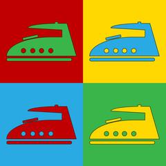 Pop art steam iron symbol icons.