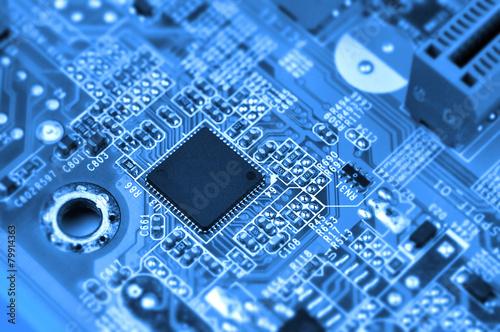 Leinwanddruck Bild Сircuit board with chip