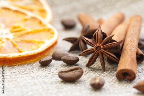 Cinnamon, anise, orange and nuts - 79914722