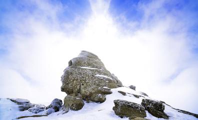 Romanian sphinx in Busteni, bucegi mountain in winter season