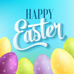 Happy easter typography on blur background with eggs