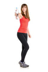 Young slim caucasian woman holdin bottle of water