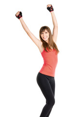 Happy fitness woman isolated on white background.