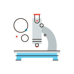 Medical microscope flat line icon concept