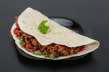 Burrito with minced meat and beans