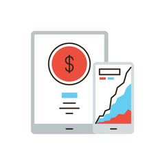 Online banking flat line icon concept