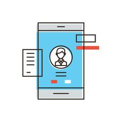 Mobile user profile line icon concept