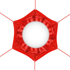 Blank red  hexagonal  banner with ropes  eps 10
