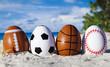 Leinwandbild Motiv Sport eggs on ocean beach –easter symbol
