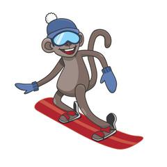 monkey snowboarding