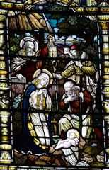 The Nativity: birth of Jesus in stained glass
