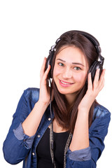 beautiful smiling girl with headphones