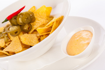 Nachos with cheese sauce and chilli pepperoni