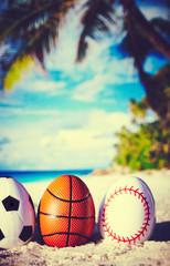 Sport eggs on ocean beach –Retro easter symbol