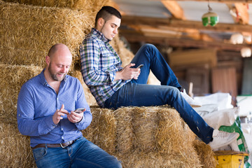 Farmers with phones on stack of straw