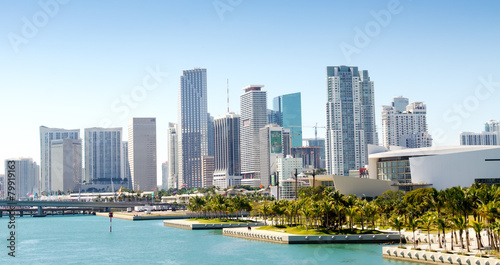 Fotobehang Verenigde Staten Panoramic view of the downtown Miami skyline, Florida, USA.