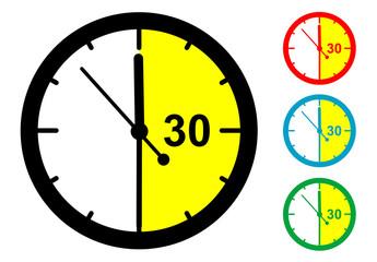 Pictograma 30 minutos en varios colores