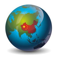 China on globe