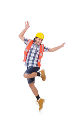 Funny dancing young construction worker isolated on white