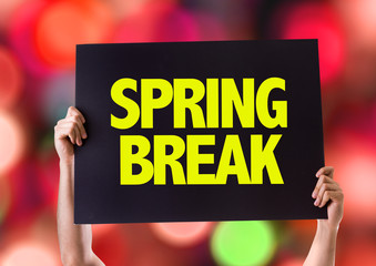 Spring Break card with bokeh background