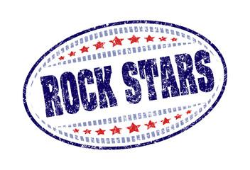 Rock stars rubber stamp grunge style label.