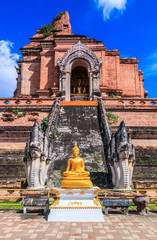 Ancient pagoda at Wat Chedi Luang in Chiangmai province,Thailand