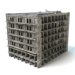 3d illustration of a destroyed building