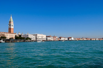 Venice lagoon with Doge's palace and Campanile, Italy